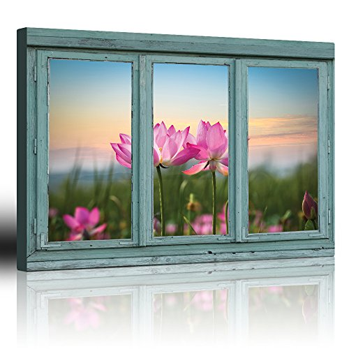 Vintage Teal Window Looking Out Into a Field of Lotus Flowers