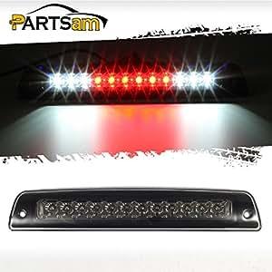 Partsam Third Brake Light for 1994-2001 Dodge Ram 1500 2500 3500 Smoke Lens Red/White LED High Mount 3rd Third Brake Cab Cargo Stop Tail Rear Light Lamp