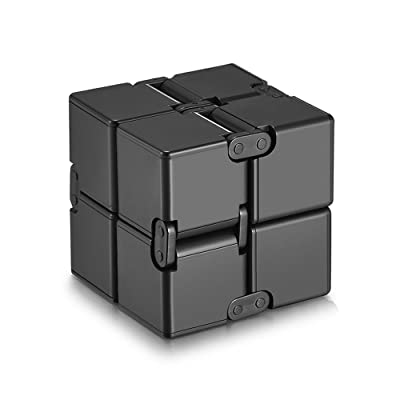 KY-A Foldable Infinite Cube for Relieves ADHD Anxiety and Boredom Stress and Hyperactivity Anxiety Relief ,Kill Time Toys (Black): Toys & Games