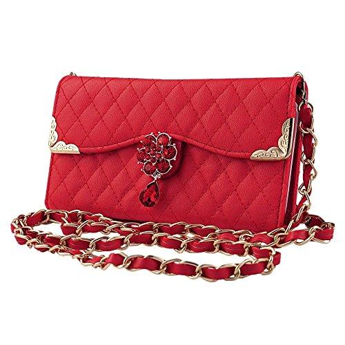 Rot PU Leder Flip Case Cover Wallet Folio Schutzhülle für Apple iPhone 6 4.7 Zoll Tasche Ledertasche Hülle Lederhülle Etui Schale Backcover mit Kette Bling Diamant Kamelien Blume