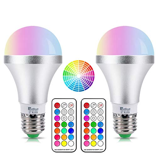 - NetBoat LED Color Changing Light Bulb with Remote Control,10W E26 RGB+Daylight White LED Bulbs Dimmable with Memory Function,Ideal Lighting for Home Decoration,Stage,Bar,Party,2-Pack
