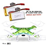 QCopter-Green-Drone-Quadcopter-Best-Drones-For-Sale-With-Camera-Experience-Long-Flights-of-30-Minutes-With-BONUS-Battery-5-Star-Customer-Service-Brilliant-LED-Lights-Quadricopter-Flight-Stability