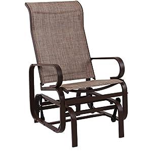 PHI VILLA Swing Glider Chair Patio Rocking Chair Garden Furniture, Textilene Mesh Steel Frame, Brown