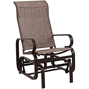 Phi Villa Swing Glider Chair Patio Rocking Chair Garden Furniture Textilene Mesh Steel Frame Brown