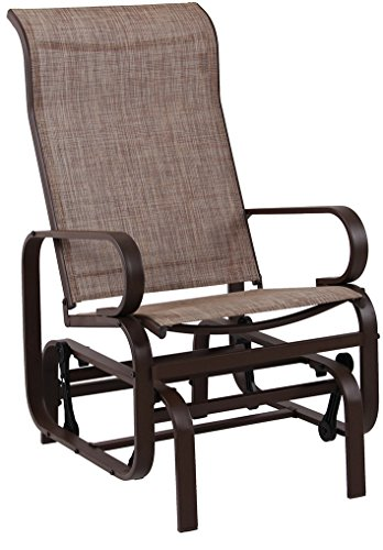 PHI VILLA Swing Glider Chair Patio Rocking Chair Garden Furniture, Textilene Mesh Steel Frame, Brown (And Patio Furniture Gliders Swings)