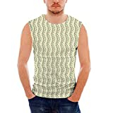 Mens Sleeveless Floral Heavy Cotton H D,Vertical Wavy Line of Leaves and Sprigs