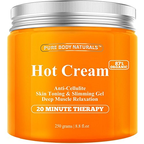Pure Body Naturals Hot Cream for Cellulite Reduction, Skin Toning and Slimming, Deep Muscle Relaxation, 8.8 Ounce 51AGr6rvsAL