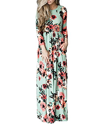 (HUHHRRY Women's Striped Floral Print 3/4 Sleeve Tie Waist Maxi Dress with Pockets Green)