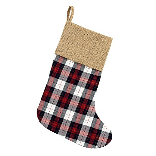16.5 inch Winter Red and Black Checkered Plaid Cotton and Burlap Christmas ()
