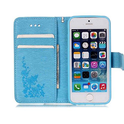 Voguecase® Pour Apple iPhone 5 5G 5S Coque, Etui Housse Cuir Portefeuille Case Cover (Papillon III-Bleu)de Gratuit stylet l'écran aléatoire universelle