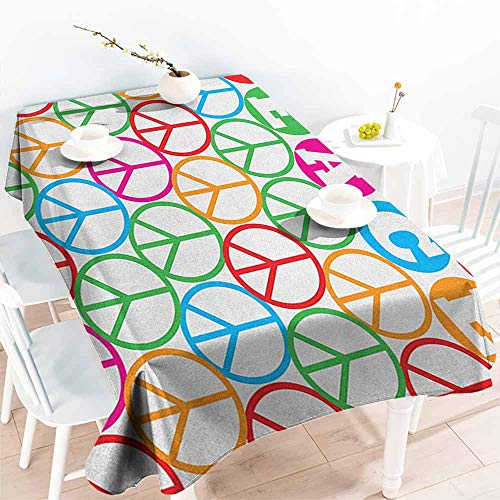 EwaskyOnline Fashions Rectangular Table Cloth,Retro Colorful Internationally Recognized Peace Symbol Sign with Letters Counter Culture Print,Fashions Rectangular,W52x70L, Multi]()