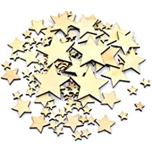 DLUcraft 100 pack unfinished wood stars material DIY Crafts Jewels for Table Scatters, Vase Fillers, Event, Wedding, Party, Birthday Decoration