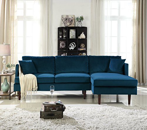 Mid-Century Modern Brush Microfiber Sectional Sofa, L-Shape Couch with Extra Wide Chaise Lounge (Dark Blue)