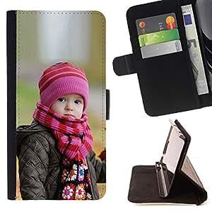 BullDog Case - FOR/Samsung Galaxy Core Prime / - / Cute Baby in Autumn /- Monedero de cuero de la PU Llevar cubierta de la caja con el ID Credit Card Slots Flip funda de cuer