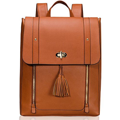 Women PU Leather Backpack 15.6inch Laptop Vintage College School Rucksack Bag (brown)