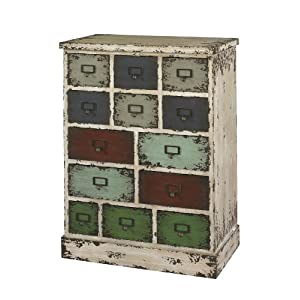 Powell Company 990-333 Parcel 13-Drawer Cabinet Distressed White, 13.75 X 23.8 X 31.88