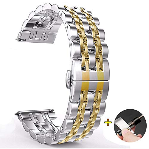 jetjoy 22mm Metal Strap Compatible with Galaxy Watch 46mm Bands/Gear S3 Classic/Frontier Band Curved End Strap Butterfly Buckle Bracelet for Samsung Galaxy Watch 46mm R800/Gear S3 -