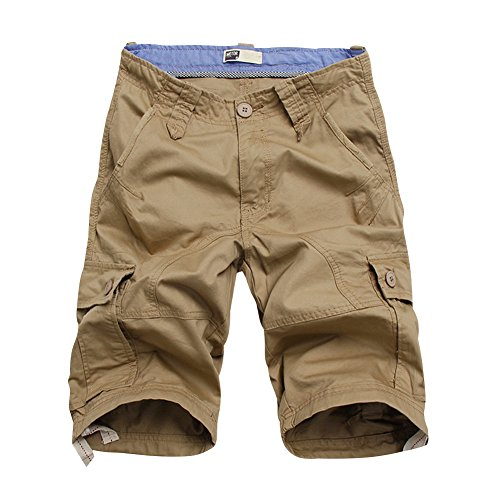Flora Florida Men's Cargo Shorts Cotton Pocket Loose Fit Short Pants (36/Waist 36'', Khaki) ()