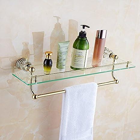 Toalla de baño o cocina Bar titular de Rack de almacenamiento de montaje en pared,organizar todo el estante con toallas y toallas, oro antiguo: Amazon.es: ...