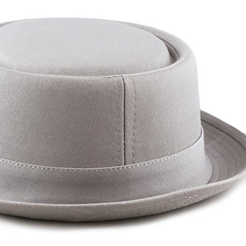 THE HAT DEPOT Black Horn Cotton Plain Pork Pie Hat (Large, Grey) by THE HAT DEPOT (Image #6)