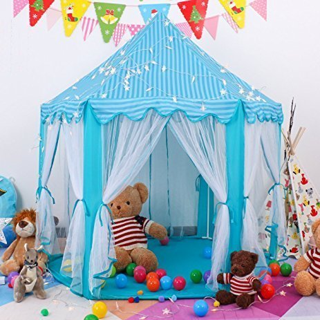 e-Joy Kids Indoor/Outdoor Tent Fairy Princess Castle Tent,Perfect Hexagon Large Playhouse Toys for GirlsBoys Children Toddlers Gift/Present Extra Large Room 55x 53(DxH) Blue with LED Light