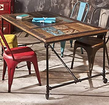 Vintage Industrial Dining Table Large Rustic Metal Furniture Retro Style Wooden Room Solid Reclaimed Wood Kitchen