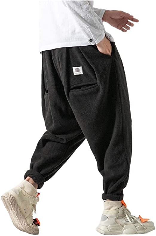 cheelot Men's Solid-Colored Harem Hip Hop Big & Tall Tapered Wide Leg Pants