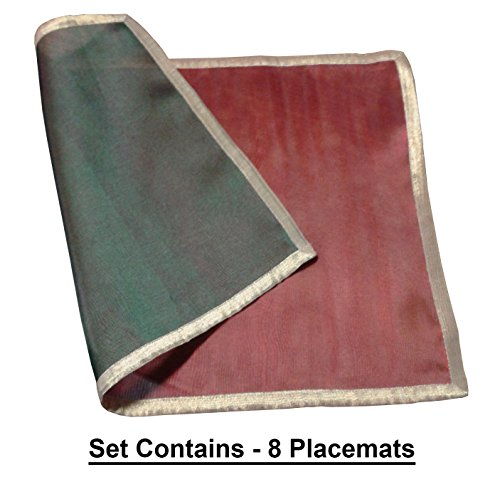 Cotton Craft Reversible Hand Stitched Organza Placemat (Set of 8) Red Green - 13x19 - Perfect accessory for your Holiday and Christmas dinner table]()
