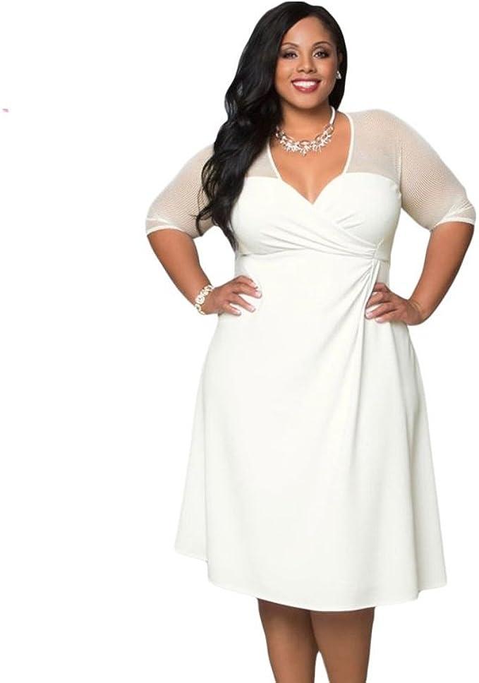Vestidos Tallas Grandes Plus Ropa De Moda Para Mujer Sexys Casuales Largos De Fiesta Y Noche Elegantes Blancos White Amazon Co Uk Clothing