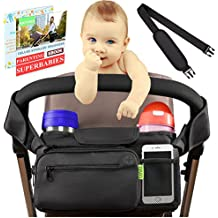 Stroller Organizer Baby Stroller Accessories | Stroller Cup Holder for Smart Moms + BONUS Shoulder Strap | Perfect for Jogging, Travelling or Shopping | Best Stroller Organizer Attachment by Kaywee