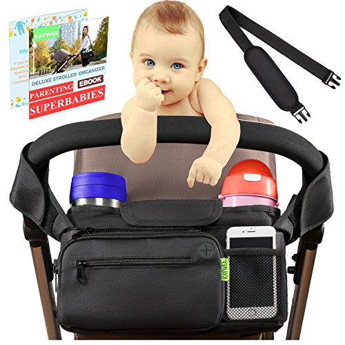 [NEWEST 2018] BEST STROLLER ORGANIZER Stroller Accessories | Stroller Cup Holder for Smart Moms + BONUS Shoulder Strap | Perfect for Jogging, Travelling or Shopping| Best Stroller Attachment by Kaywee