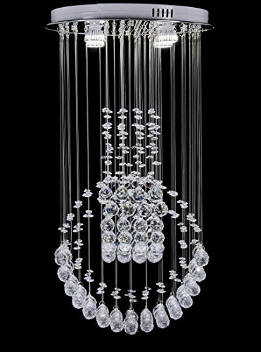 Top Lighting Modern Rain Drop LED Chandelier with Crystal Balls Ceiling Lighting Fixture W16″xL16″xH30″, Bulbs Included