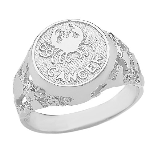 Solid 925 Sterling Silver Cancer Zodiac Sign Band Nugget Men's Ring (Size - Bands Silver Zodiac