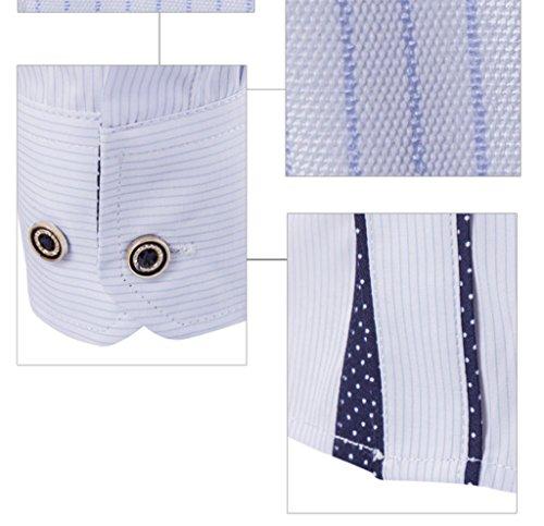WSLCN Herren Schick Bügelfrei Gestreift Langarm Hemd Regular fit Weiß