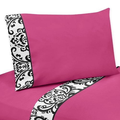 Sweet Jojo Designs 4-Piece Queen Sheet Set for Hot Pink, Black and White Isabella Bedding Collection