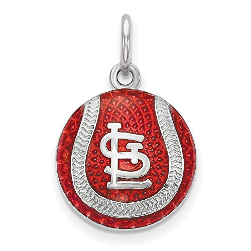 MLB St. Louis Cardinals Sterling Silver St. Louis Cardinals Enameled Baseball Charm Size One Size