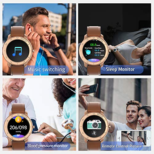MAXTOP Smart Watch Android Compatible with iPhone Samsung, Bluetooth Android Smart Watches Waterproof, Smartwatch iPhone Fitness Activity Tracker with Monitor Heart Rate Sleep for Women Men (Gold)