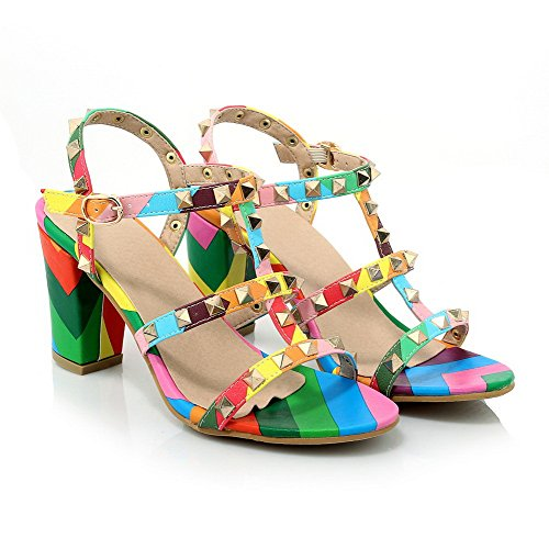 AllhqFashion Womens High Heels Assorted Color Buckle Open Toe Sandals Multicoloured nMwxL