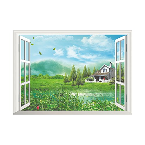 Winhappyhome Leisure Hut Fake Window Wall Art Stickers for Bedroom Living Room Coffee Shop Background Removable Decor - Hut Leisure