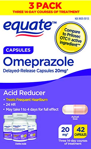 Equate Acid Reducer Omeprazole Capsules, 20 mg, 42 Count, 3 Pack x 2 (Total 84 Count)