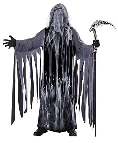 California Costumes Men's Soul Taker Scary Ghost Demon Skeleton Grim Reap, Black, Small/Medium]()