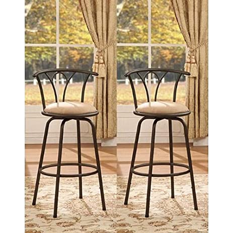 Bronze Finish Adjustable Metal Swivel Counter Height Bar Stools (Set of 2)  sc 1 st  Amazon.com & Amazon.com: Bronze Finish Adjustable Metal Swivel Counter Height ... islam-shia.org