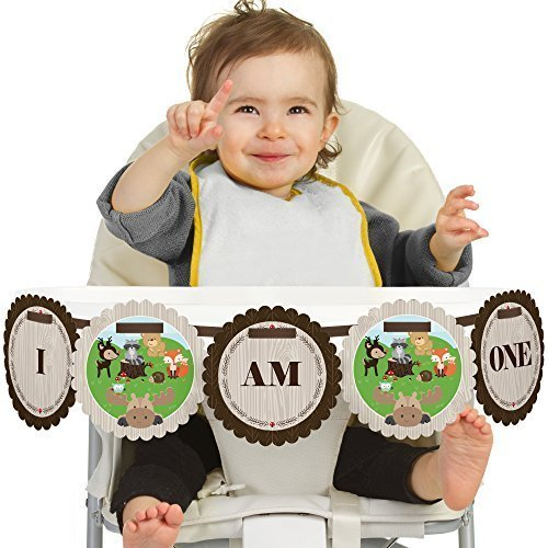 woodland-creatures-first-birthday-high-chair-banner
