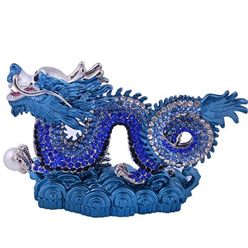 Feng Shui Bejeweled Blue Dragon + Free Red String Bracelet G1290