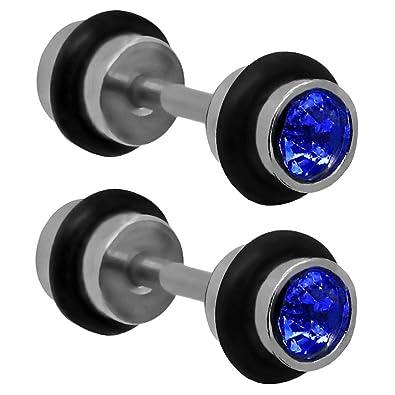 2 espiral falso dilatadore fake taper piercing pendientes aretes negro bianco cuadros sin dilatación, color:azul: Amazon.es: Joyería