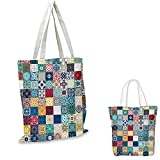 "Moroccan shopping tote bag Patchwork Pattern with Different Colorful Arabic Figures Original Tunisian Artful travel shopping bag Multicolor. 16""x18""-13"""