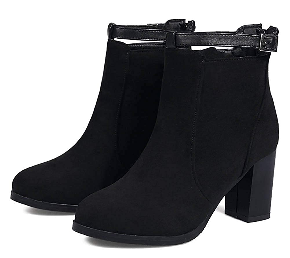 Unm Womens Buckle Strap Round Toe Zip Up Dress Short Boots Chunky High Heel Ankle Booties with Zipper Black