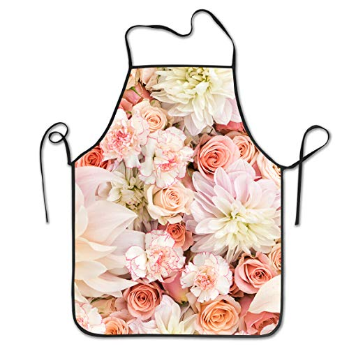 COLOMAKE Waterproof Cooking Petal Roses Blush Pink Apron Personalized Chef Apron for Women Men Kitchen Bib Apron Ideal for Dishwashing Cleaning -