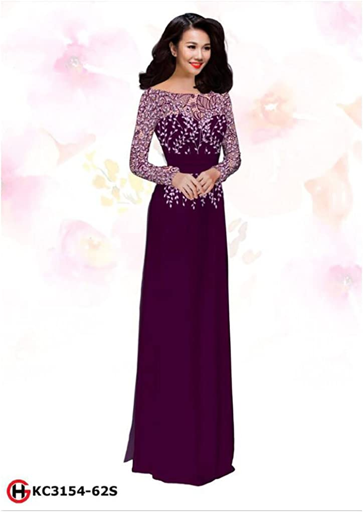 Ao Dai All Size Traditional Vietnamese Long Dress Collections with Pants ADVN00290 Silk 3D