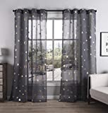 living room themes Kotile Grommet Top Gold Stars Sheer Curtains 84 Inch for Bedroom, Living Room Window Drapes Cosmic Theme Foil Print Twinkle Set Dark Grey Curtain, W52 x L84 Inches